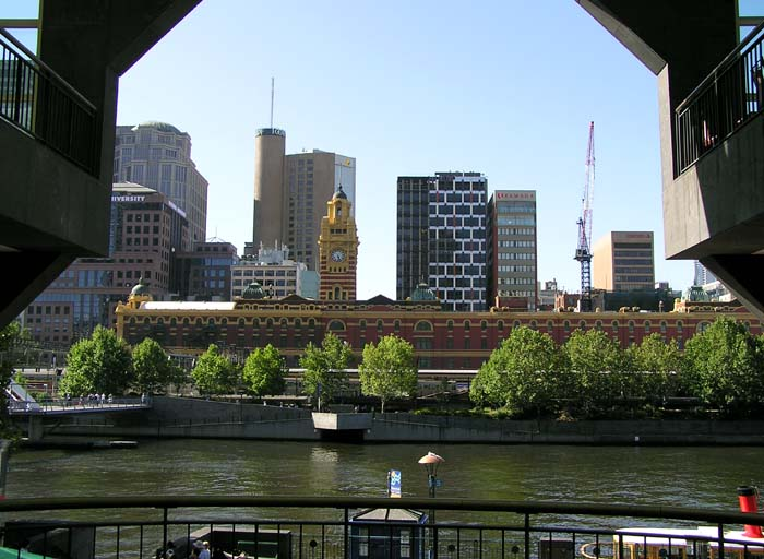 Looking across the Yarra River to Flinders Street Station