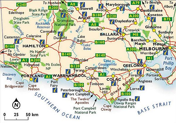 Maps of Victoria West from Melbourne to the border with South – Map Victoria Australia