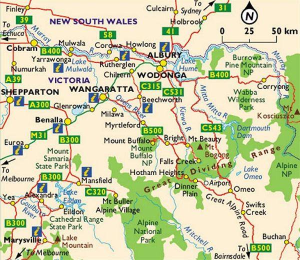 Maps of Victoria - North of Melbourne to the border with New South Wales