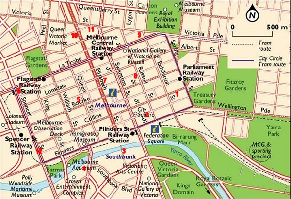 Map of Melbourne's CBD with major hotels
