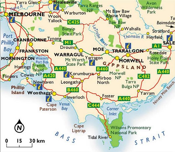 Victoria Maps Maps Of Victoria South And East Of Melbourne - Map of victoria australia with towns