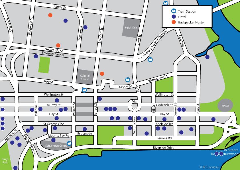 Perth CBD Hotel map