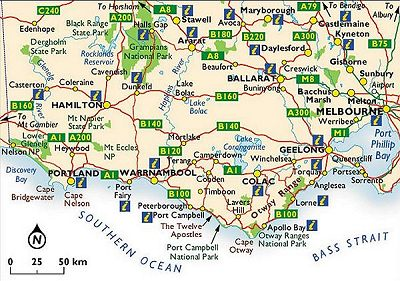 Map of Victoria showing the Great Ocean Road going west along the southern coastline to the border with South Australia
