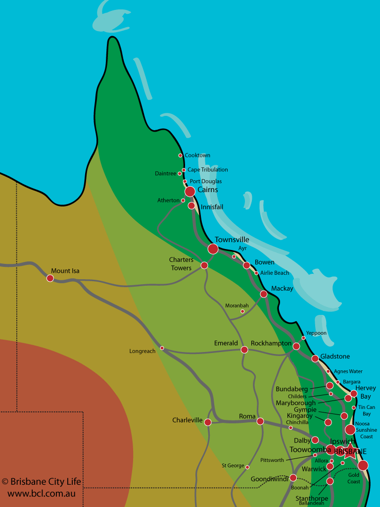 Map of Queensland with towns marked